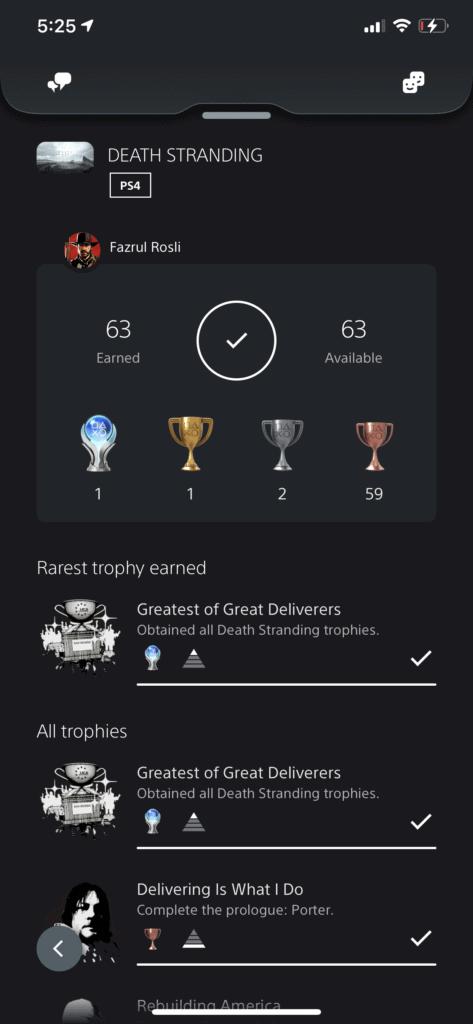 Death Stranding Platinum Trophy